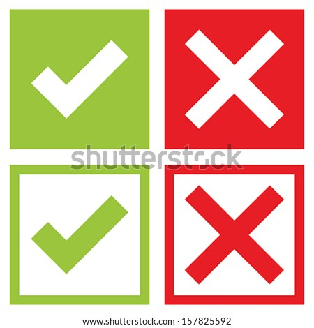 Check mark stickers - stock vector