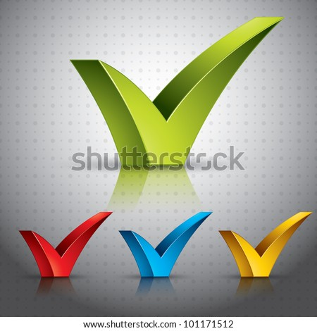 Check mark tick with transparent shadows and reflections ready to put over any background. Color versions set. - stock vector