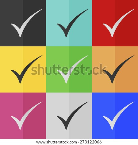 Check mark vector icon - colored set. Flat design - stock vector