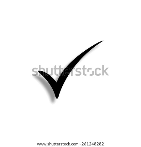 Check mark vector icon with shadow - stock vector
