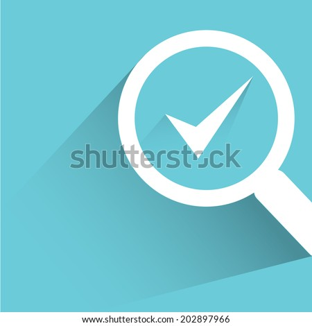 check mark, verification concept, blue shadow and flat theme - stock vector