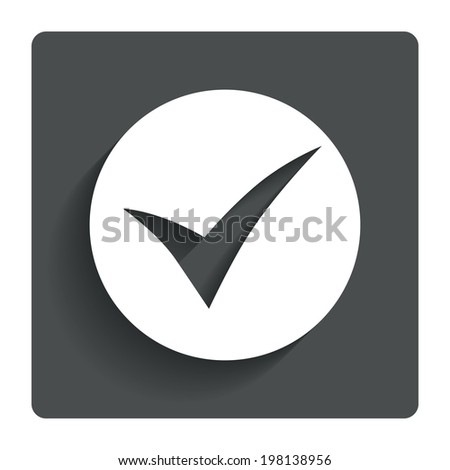 Check sign icon. Yes symbol. Confirm. Gray flat button with shadow. Modern UI website navigation. Vector