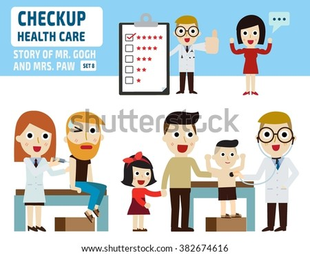 check up healthcare.infographic elements.flat illustration.healthy concept. - stock vector