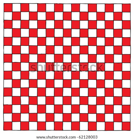checkboard red and white hand drawing - stock vector