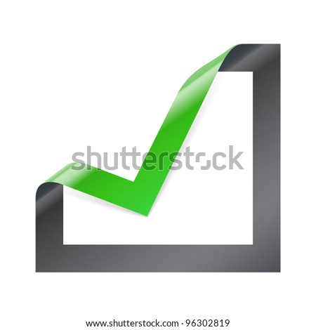 Checkbox icon with angle folded on square paper - stock vector