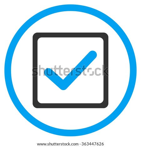 Checkbox vector icon. Style is bicolor flat symbol, blue and gray colors, rounded angles, white background. - stock vector