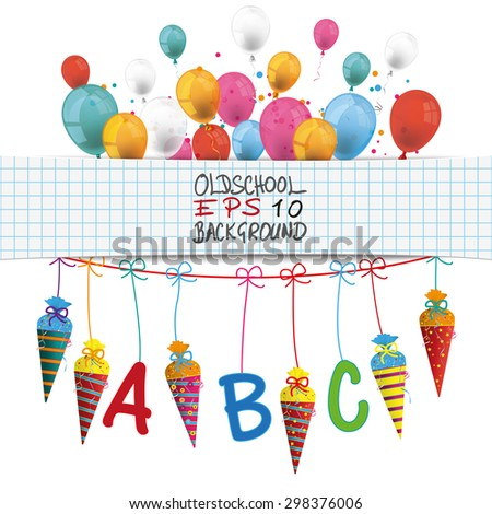 Checked banner with balloons, candy cones and ABC letters. Eps 10 vector file. - stock vector