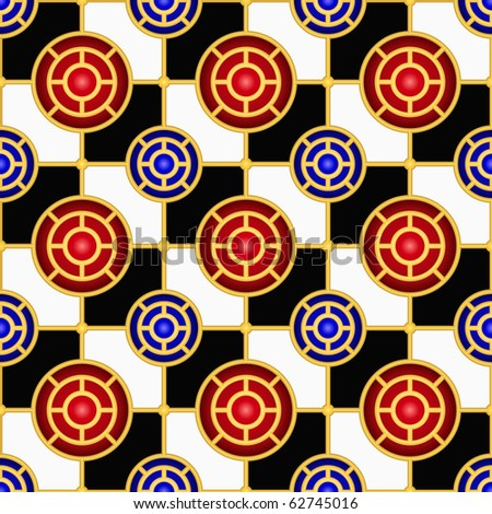 Checkerboard seamless pattern with hemispheres and golden elements