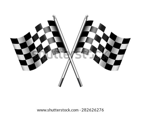 Checkered, Chequered Flags Finish Flag - stock vector