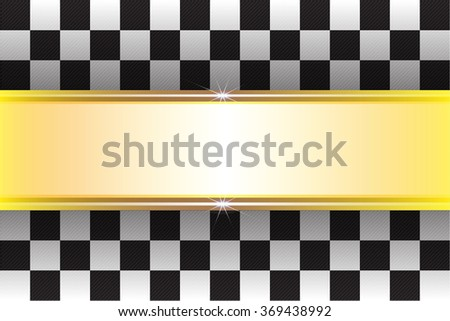 Checkered flag and gold label vector illustration for sport background.  - stock vector
