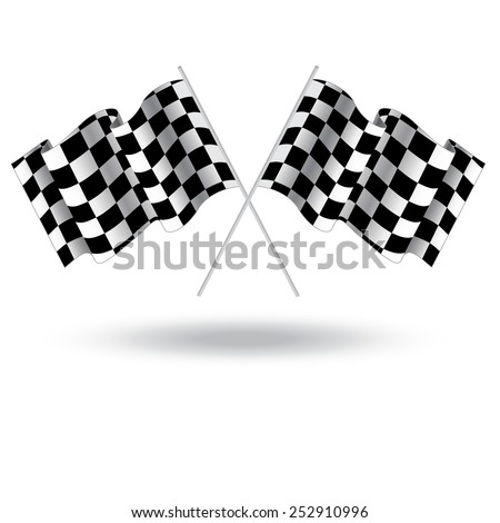 Checkered flag for car racing. Illustration isolated on white background. Two Finish flag. Race flag. finish illustration. Waving Checkered flag - stock vector