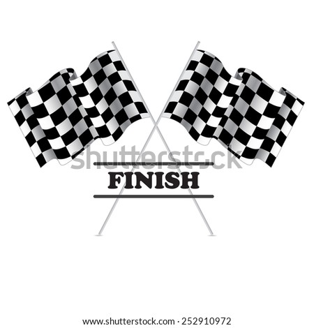 Checkered flag for racing. Isolated on white background. Two Finish flag with shadow. Race flag. finish illustration. Waving Checkered flag - stock vector