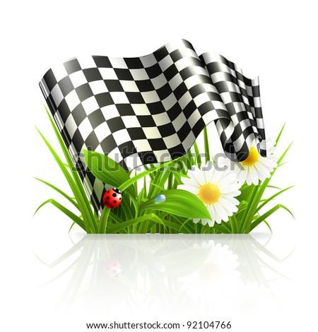 Checkered flag in grass, 10eps - stock vector