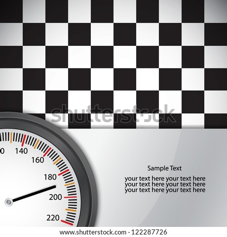 Checkered flag with metal frame and speedometer