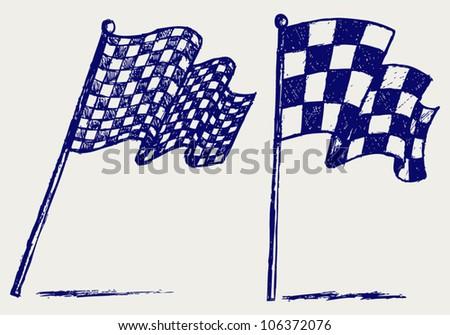 Checkered flags - stock vector
