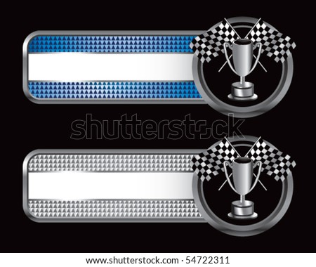 checkered flags and trophy blue and silver checkered tabs - stock vector