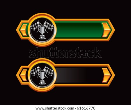 checkered flags and trophy green and black arrows - stock vector