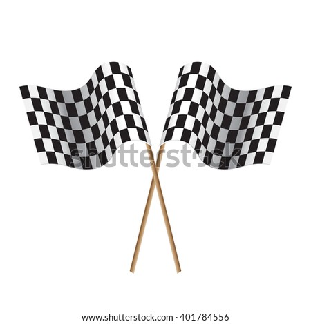 Checkered flags. flags start and finish. black-and-white flags. vector - stock vector