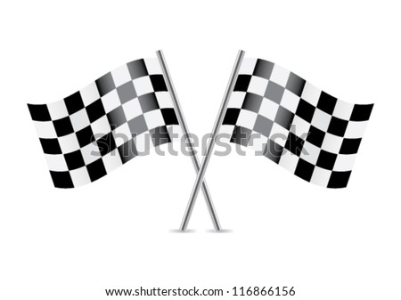 Checkered Flags (racing flags). Vector illustration. - stock vector