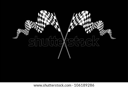 Checkered Flags set on black - stock vector