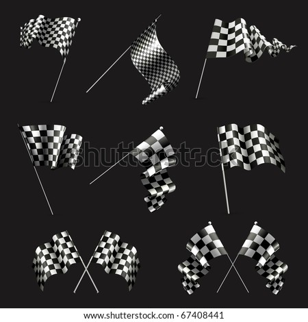 Checkered Flags set on black, 10eps - stock vector
