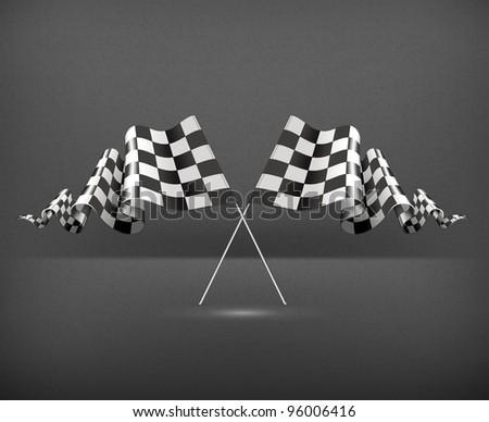 Checkered Flags, Vector - stock vector