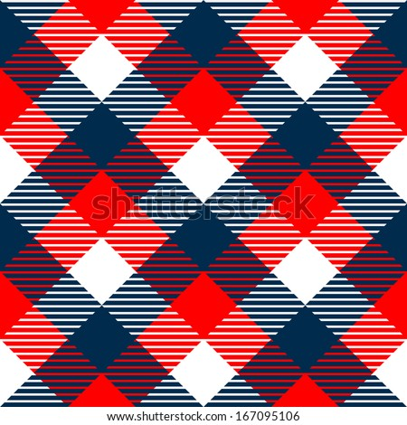 Checkered gingham fabric seamless pattern in blue white and red, vector - stock vector