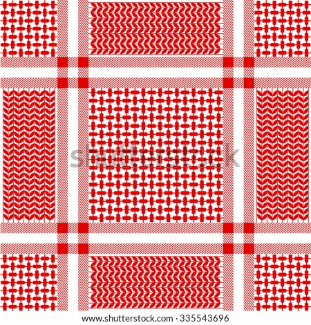 Checkered keffiyeh vector seamless pattern with floral and geometric motif. Traditional Middle Eastern headdress. Red and white. Backgrounds & textures shop. - stock vector