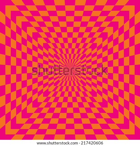 Checkered Optical Illusion in pink and orange. - stock vector