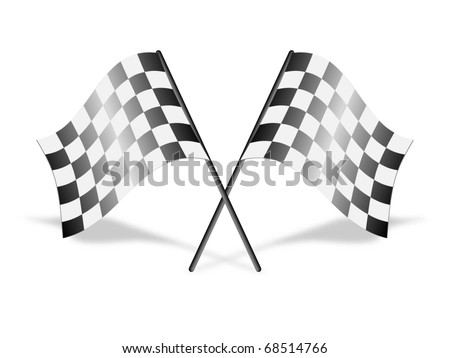 Checkered racing flags, vector