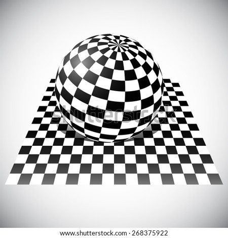 Checkered Sphere on Checkered Plane. 3D Abstract Vector - stock vector