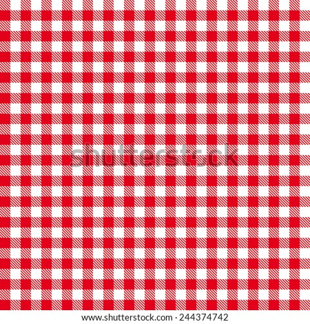Checkered tablecloths pattern - endless - red - stock vector