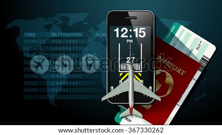 Checking smart phone screen at flight information board timetable with passport and airline ticket. Travel concept. Vector, illustrator. - stock vector