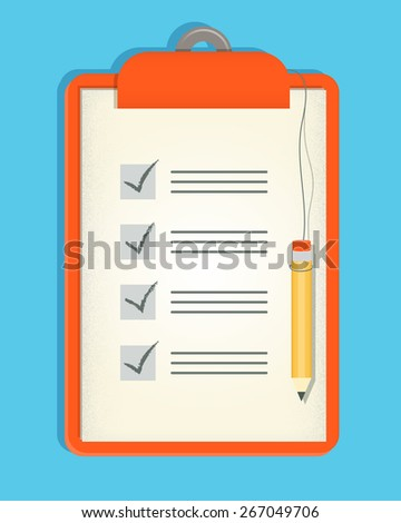 Checklist and Pencil Illustration of a clipboard checklist with attached pencil - stock vector