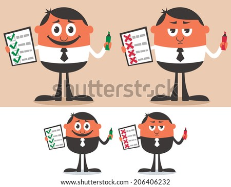 Checklist: Businessman with checklist in 4 versions. No transparency and gradients used.  - stock vector
