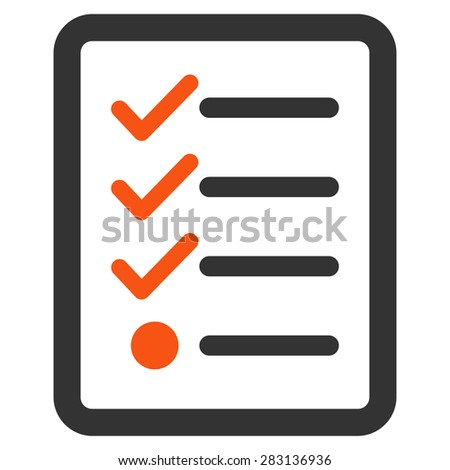 Checklist icon from Business Bicolor Set. Vector style: bicolor flat symbol, orange and gray colors, rounded angles, white background. - stock vector