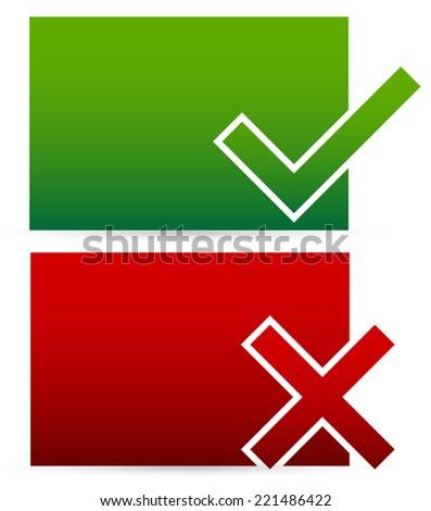 Checkmark, cross - stock vector