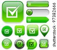 Checkmark green design elements for website or app. Vector eps10. - stock photo