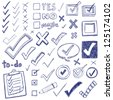 Checkmarks and checkboxes drawn in a doodled style. - stock vector