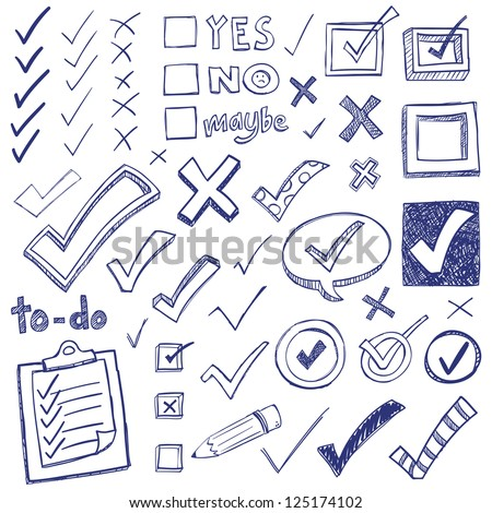 Checkmarks and checkboxes drawn in a doodled style.