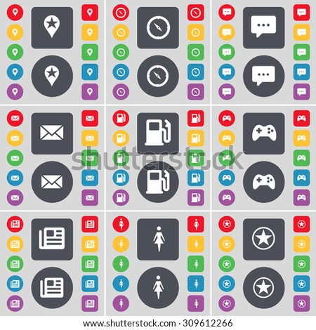 Checkpoint, Compass, Chat bubble, Message, Gas station, Gamepad, Newspaper, Silhouette, Star icon symbol. A large set of flat, colored buttons for your design. Vector illustration - stock vector