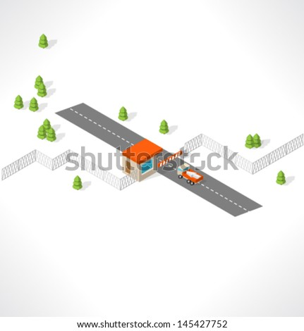 Checkpoint on the road. Isometric building. - stock vector