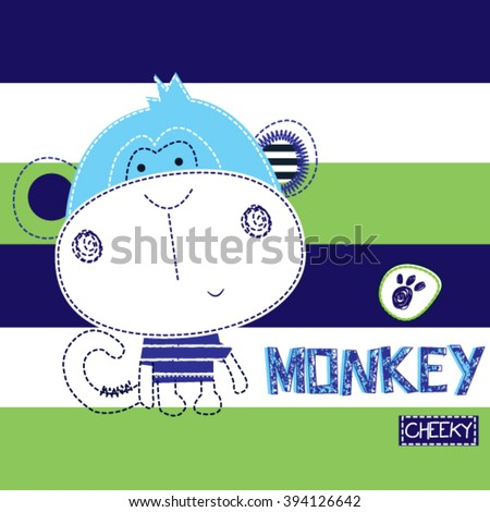 cheeky monkey on striped background, T-shirt design for kids vector illustration - stock vector
