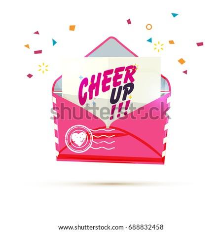 Cheer letter envelope pop paper cheer stock vector 2018 688832458 cheer up letter envelope with pop up paper cheer up calligraphy vector altavistaventures Gallery
