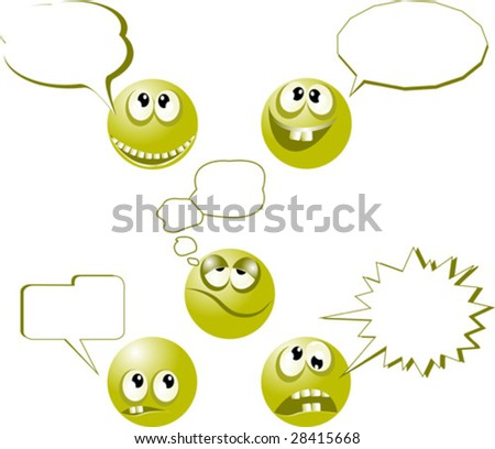Cheerful and angry symbols talk - stock vector