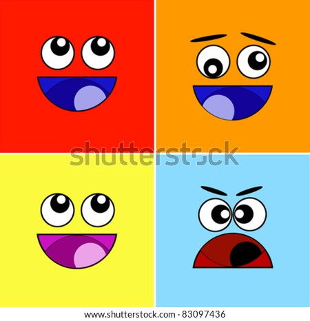 Cheerful and puzzled expressions. A vector illustration