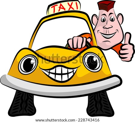 cheerful and smiling taxi driver - stock vector