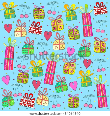 cheerful background with gifts - stock vector