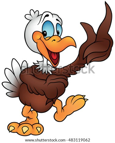 Cheerful Bald Eagle Pointing - Colored Cartoon Illustration, Vector