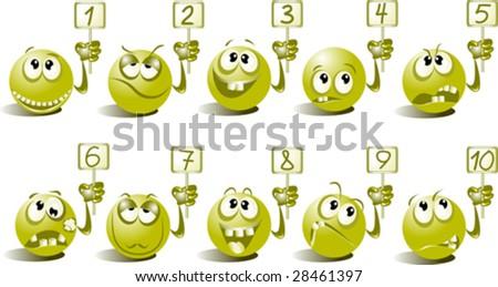 Cheerful balls show different figures - stock vector
